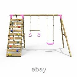Rebo Wooden Swing Set with Up and Over Climbing Wall Savannah Pink