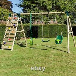 Rebo Wooden Swing Set with Up and Over Climbing Wall Sienna Green