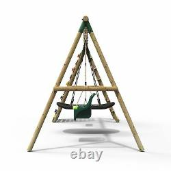 Rebo Wooden Swing Set with Up and Over Climbing Wall Skye Green