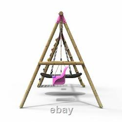 Rebo Wooden Swing Set with Up and Over Climbing Wall Skye Pink