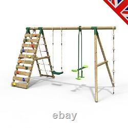 Rebo Wooden Swing Set with Up and Over Climbing Wall Talia Green