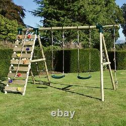 Rebo Wooden Swing Set with Up and Over Climbing Wall Terra Green