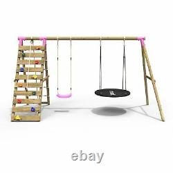 Rebo Wooden Swing Set with Up and Over Climbing Wall Vale Pink