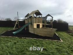 SALE! NEW TRIPLE TOWER PIRATE SHIP QUALITY CLIMBING FRAME 5ft BASE SCHOOL