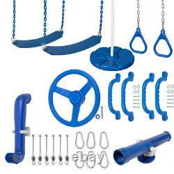 SWING SET STUFF ULTIMATE KIT BLUE playground fort belt wooden child trapeze 0258