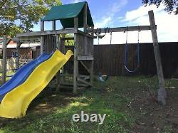 SWINGS SLIDES Outdoor Play Equipment Wooden c/w 2 Slides Monkey Bars. Large