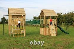 Single Double Wooden Climbing Frame Two Tower Heavy Duty Jungle Gym Quality