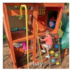 Slides swings set playhouse garden-climbing frame outdoor wooden tree house
