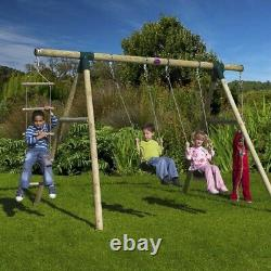 Strong Wooden Children Swing Set With Climbing Rope Ladder Garden Outdoor Fun