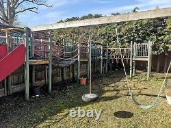 Swing Set, Large Slide, Tower, rope bridge, netting MonkeyFort