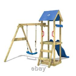 Swing set Wooden climbing frame with blue slide and sandpit WICKEY TinyWave