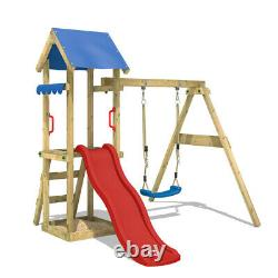 Swing set Wooden climbing frame with red slide and sandpit WICKEY TinyWave