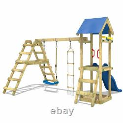 Swing set Wooden climbing frame with sandpit and blue slide WICKEY TinyLoft