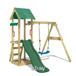 Swing set Wooden climbing frame with sandpit and green slide WICKEY TinyWave