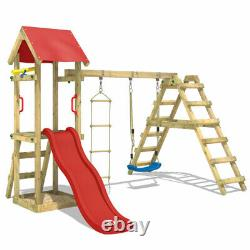 Swing set Wooden climbing frame with sandpit and red slide WICKEY TinyLoft