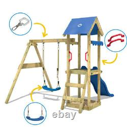 Swing set Wooden climbing frame with sandpit and red slide WICKEY TinyWave