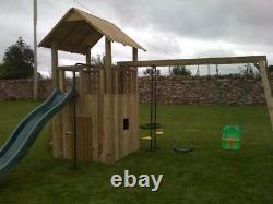 THE BOTANIC Jungle Gym, Kids Enclosed Play Den, Cargo net & Rock wall, Swings