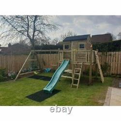 THE BUSHMILLS 6ft x 4ft Playhouse on Stilts, Swings, Slide, Rock Wall, Garden