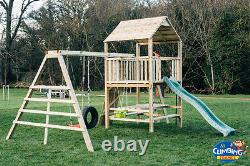 THE CAUSEWAY 6ft Tower, 10ft Monkey Bars, Steps, Swings, Picnic Table, Garden