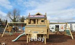 THE LORRY Climbing Frame Set Enclosed Playhouse Swings Slide Scania timber kids