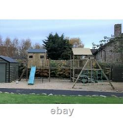 THE MOURNES Double 6ft Tower Climbing Frame with Raised Playhouse, Monkey Bars