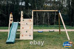 THE ROCKY'S CLIMBER Jungle Gym, Wave Slide, Swings, Wooden Climber, Rock wall