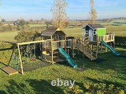 The Slieve Gullion Playhouse rope bridge ramp Monkey Bars Slide swings set kids