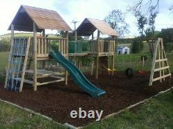 Two Tower 6ft QUALITY WOODEN DOUBLE CLIMBING FRAME RRP £1795 Outstanding Value