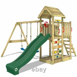 WICKEY Climbing Frame Swing Set MultiFlyer with wooden roof and green slide