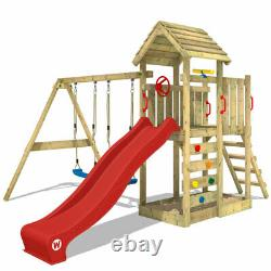 WICKEY Climbing Frame Swing Set MultiFlyer with wooden roof and red slide