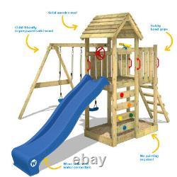 WICKEY Climbing Frame Swing Set MultiFlyer wooden roof and apple green slide