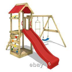 WICKEY FreeFlyer Climbing Frame Outdoor Wood Swing Set Red Slide Garden
