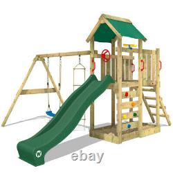 WICKEY MultiFlyer Climbing Frame Wood Swing Set Green Slide & Roof Outdoor