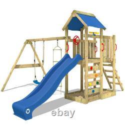 WICKEY MultiFlyer Climbing Frame Wood Swing Set Slide Outdoor Garden