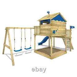 WICKEY Smart Coast Wooden Climbing Frame DoubleSwing TreeHouse with green Slide