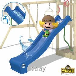 WICKEY Smart Ocean Wooden Climbing Frame DoubleSwing TreeHouse with red Slide