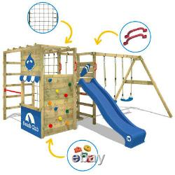 WICKEY Smart Zone Wooden Climbing Frame with double swing and green slide