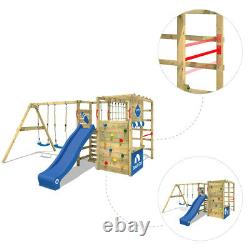 WICKEY Smart Zone Wooden Climbing Frame with double swing and slide