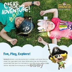 WICKEY TinyCabin climbing frame Garden playhouse-set with green slide and tarp