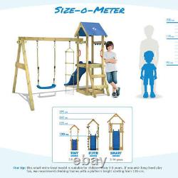 WICKEY TinyCabin climbing frame with swing and red slide playtower playhouse-set
