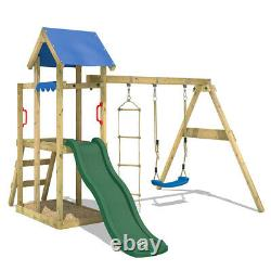 WICKEY TinyPlace climbing frame with swing and blue slide playtower playground