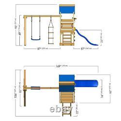 WICKEY TurboFlyer Climbing Frame Outdoor Wood Swing Set Green Slide & Roof