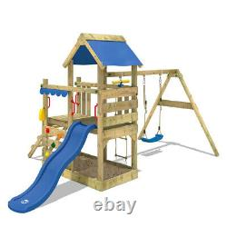 WICKEY TurboFlyer Climbing Frame Outdoor Wood Swing Set Red Slide & Roof