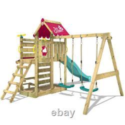 WICKEY VanillaFlyer Climbing Frame Garden Outdoor wooden Playground with Swing