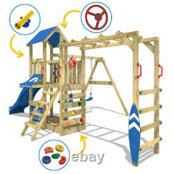 WICKEY Wooden climbing frame Swing set Smart Dock with red slide & monkey bars