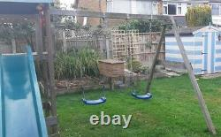 Wickey Smart Empire Wooden Climbing Frame with Blue Swings and Green Slide