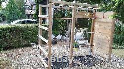 Wickey wooden climbing frame monkey bars with climbing wall and accessories