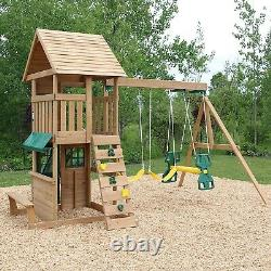 Windale Wooden Outdoor Kids Climbing Frame with Swings, Slide and Climbing wall