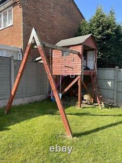 Wooden Childrens Garden Swing, Slide, Playhouse, Climbing Frame, Pre-Owned