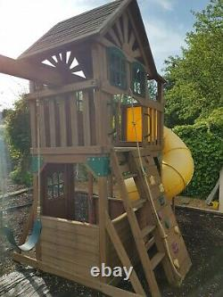 Wooden Climbing Frame Playhouse With Slide And Swings